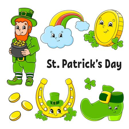 Set of color stickers for kids. Leprechaun with a pot of gold, boot, gold coin, clover, magic rainbow, horseshoe. St. Patrick 's Day. Cartoon characters. Black stroke. Isolated vector illustration.