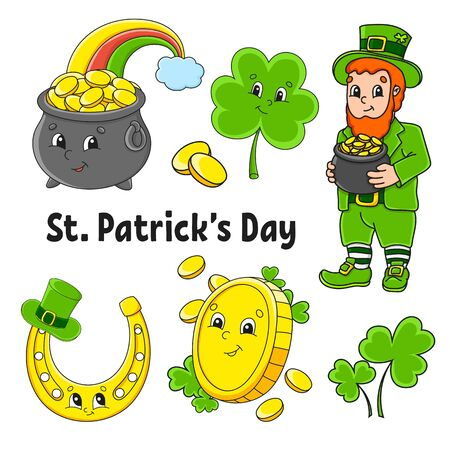 Set of color stickers for kids. Leprechaun with a pot of gold, gold coin, clover, magic rainbow, horseshoe. St. Patrick 's Day. Cartoon characters. Black stroke. Isolated vector illustration.