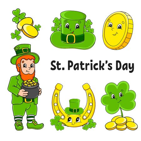 Set of color stickers for kids. St. Patrick 's Day. Leprechaun with a pot of gold, gold coin, clover, hat, golden horseshoe. Cartoon characters. Black stroke. Isolated vector illustration. Illusztráció