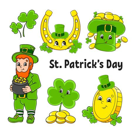 Set of color stickers for kids. Leprechaun with a pot of gold, gold coin, green clover, hat, golden horseshoe. St. Patrick 's Day. Cartoon characters. Black stroke. Isolated vector illustration.