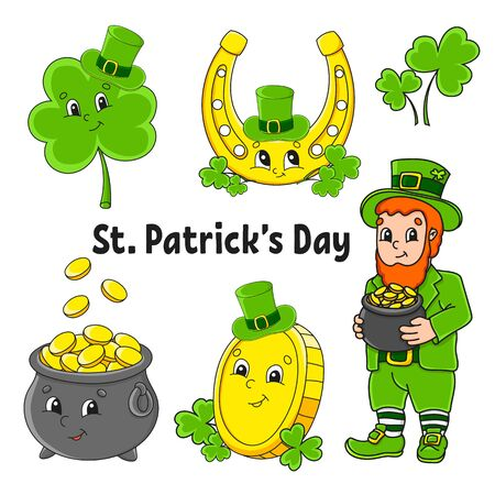 Set of color stickers for kids. St. Patrick 's Day. Leprechaun with a pot of gold, gold coin, clover with hat, golden horseshoe. Cartoon characters. Black stroke. Isolated vector illustration.
