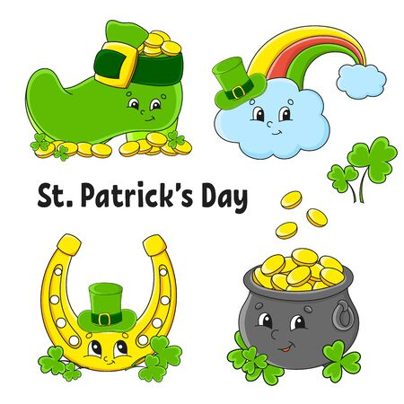 Set of color stickers for kids. Leprechaun boot, pot of gold, gold coin, clover, magic rainbow, horseshoe. St. Patrick 's Day. Cartoon characters. Black stroke. Isolated vector illustration.