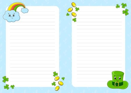 Colored sheet template for notes. Paper page for art journal, notebook. St. Patrick 's Day. Cute cartoon character. Lined sheet. Vector illustration.