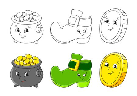 Set coloring page for kids. St. Patrick 's Day. Pot of gold, Leprechaun boot, Gold coin. Cute cartoon characters. Black stroke. Vector illustration. With sample.