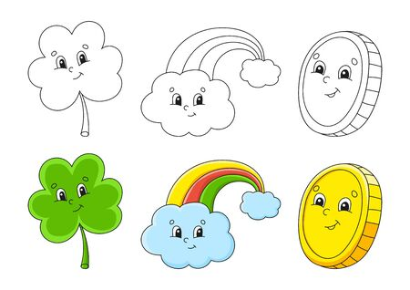 Set coloring page for kids. St. Patrick 's Day. Clover shamrock. Magic rainbow. Gold coin. Cute cartoon characters. Black stroke. Vector illustration. With sample.