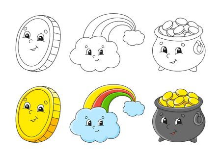 Set coloring page for kids. St. Patrick 's Day. Pot of gold. Magic rainbow. Gold coin. Cute cartoon characters. Black stroke. Vector illustration. With sample.