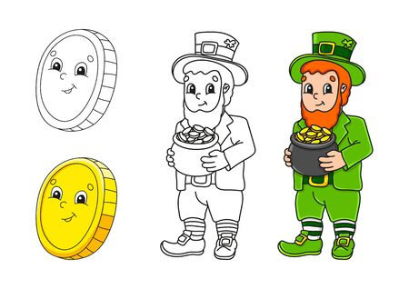 Set coloring page for kids. St. Patrick 's Day. Gold coin. Leprechaun with a pot of gold. Cute cartoon characters. Black stroke. Vector illustration. With sample.