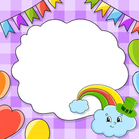 Festive color vector illustration with empty place for text. Rainbow in hat. Cartoon character, balloons, garlands. For the design of greeting cards, birthdays, stickers. St. Patrick's day.