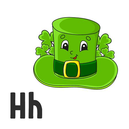 Alphabet letter H. Leprechaun hat. ABC flash cards. Cartoon cute character isolated on white background. For kids education. Developing worksheet. Learning letters. Vector illustration.