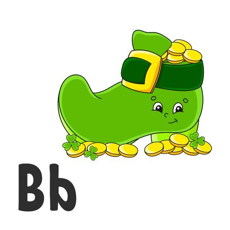 Alphabet letter B. Leprechaun boot with coins. ABC flash cards. Cartoon cute character isolated on white background. For kids education. Developing worksheet. Learning letters. Vector illustration.