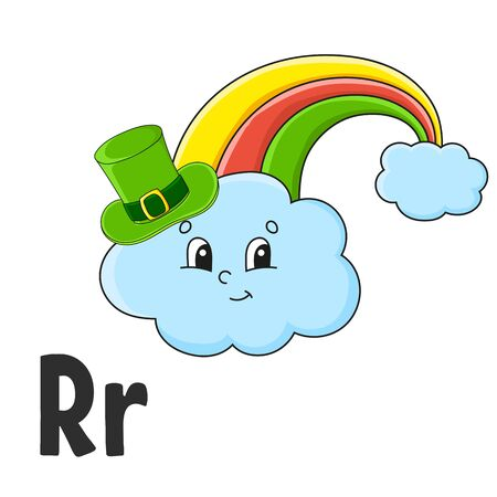 Alphabet letter R. Rainbow in hat. ABC flash cards. Cartoon cute character isolated on white background. For kids education. Developing worksheet. Learning letters. Vector illustration.