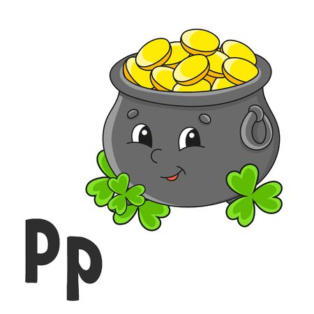 Alphabet letter P. Pot of gold. ABC flash cards. Cartoon cute character isolated on white background. For kids education. Developing worksheet. Learning letters. Vector illustration. Ilustracja