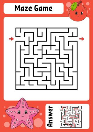 Maze. Game for kids. Funny labyrinth. Education developing worksheet. Activity page. Puzzle for children. Cute cartoon style. Riddle for preschool. Logical conundrum. Color vector illustration. Vecteurs