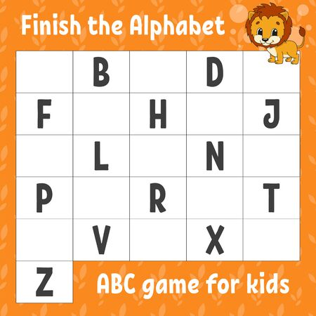 Finish the alphabet. ABC game for kids. Education developing worksheet. Orange lion. Learning game for kids. Color activity page. Vecteurs