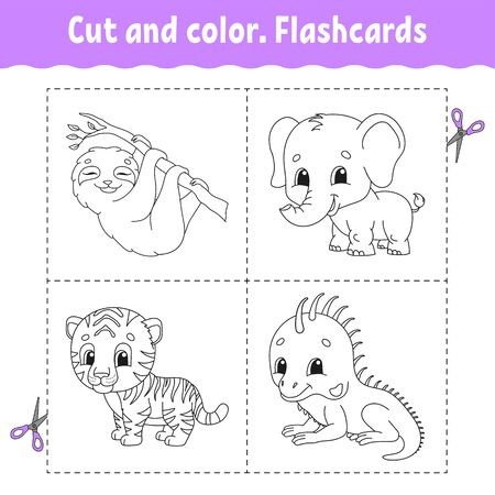 Cut and color. Flashcard Set. tiger, sloth, iguana, elephant. Coloring book for kids. Cartoon character. Cute animal.