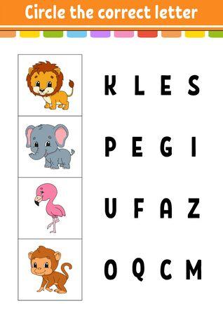 Circle the correct letter. flamingo, monkey, lion, elephant. Education developing worksheet. Learning game for kids. Color activity page. Cartoon character. Ilustração Vetorial