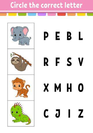 Circle the correct letter. monkey, elephant, sloth, iguana. Education developing worksheet. Learning game for kids. Color activity page. Cartoon character. Ilustração Vetorial