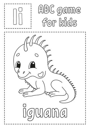 Letter I is for iguana. ABC game for kids. Alphabet coloring page. Cartoon character. Word and letter. Vector illustration. Çizim