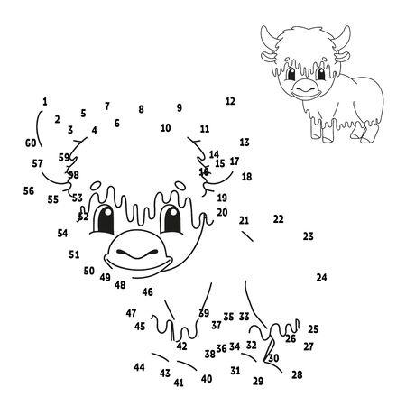 Dot to dot. Animal yak. Draw a line. Handwriting practice. Learning numbers for kids. Education worksheet. Activity coloring page. Cartoon style. With answer.