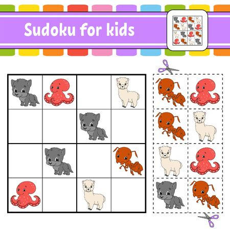 Sudoku for kids. Education developing worksheet. Activity page with pictures. Puzzle game for children. Set animals. Isolated vector illustration. Funny character. Cartoon style.