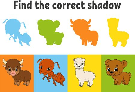 Find the correct shadow. Education worksheet. Matching game for kids. Yak, ant, alpaca, bear. Color activity page. Puzzle for children. Cartoon character. Isolated vector illustration. Vetores