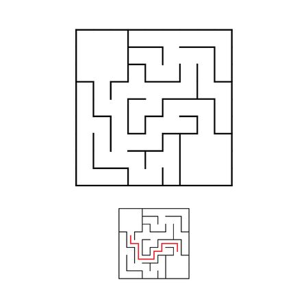Easy maze. Game for kids. Puzzle for children. Labyrinth conundrum. Find the right path. Vector illustration. Ilustração