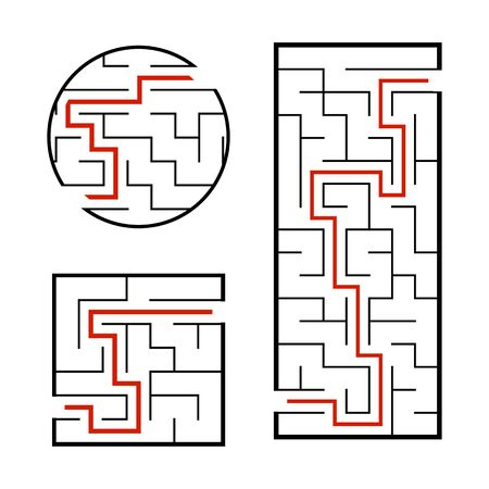 A set of mazes. Game for kids. Puzzle for children. Labyrinth conundrum. Find the right path. Vector illustration. Ilustração