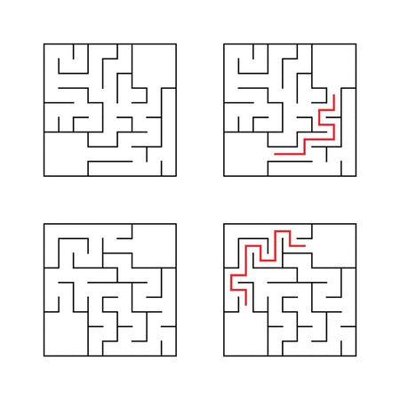 A set of mazes. Game for kids. Puzzle for children. Labyrinth conundrum. Find the right path. Color vector illustration. With answer.