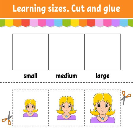 Learning sizes. Cut and glue. Easy level. Color activity worksheet. Game for children. Cartoon character. Vector illustration.