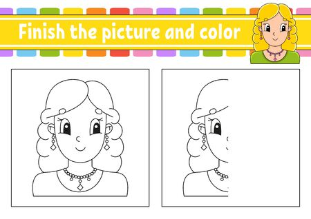 Finish the picture and color. Cartoon character isolated on white background. For kids education. Activity worksheet.