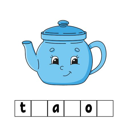 Words puzzle. Teapot. Education developing worksheet. Learning game for kids. Color activity page. Puzzle for children. English for preschool. Vector illustration. Cartoon style.