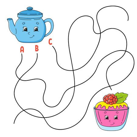 Easy maze. Teapot and cake. Labyrinth for kids. Activity worksheet. Puzzle for children. Cartoon character. Logical conundrum. Color vector illustration.