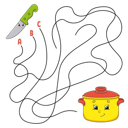 Easy maze. Knife and stewpan. Labyrinth for kids. Activity worksheet. Puzzle for children. Cartoon character. Logical conundrum. Color vector illustration.