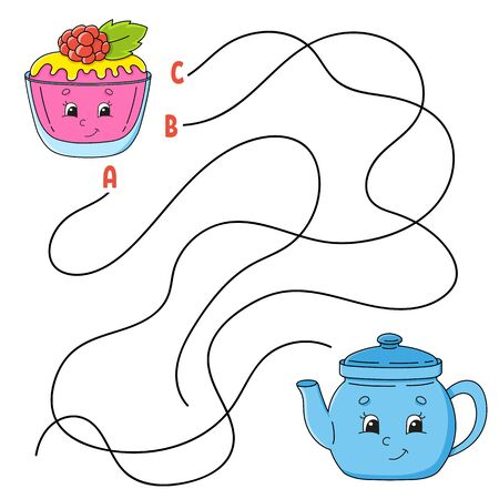 Easy maze. Cake and teapot. Labyrinth for kids. Activity worksheet. Puzzle for children. Cartoon character. Logical conundrum. Color vector illustration.