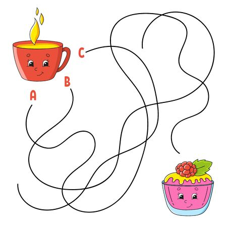 Easy maze. Cup and cake. Labyrinth for kids. Activity worksheet. Puzzle for children. Cartoon character. Logical conundrum. Color vector illustration. Ilustração