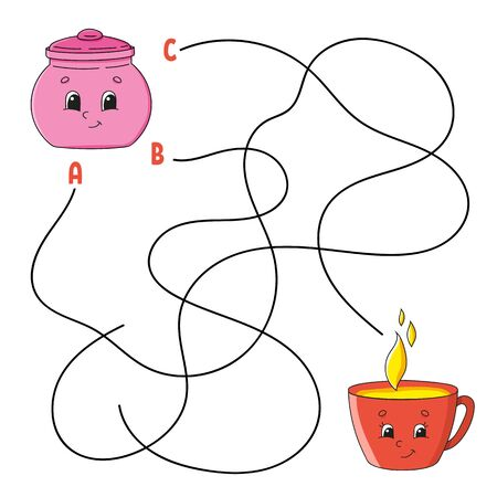 Easy maze. Sugar bowl and cup. Labyrinth for kids. Activity worksheet. Puzzle for children. Cartoon character. Logical conundrum. Color vector illustration. Illustration