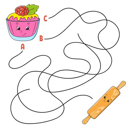Easy maze. Cake and rolling pin. Labyrinth for kids. Activity worksheet. Puzzle for children. Cartoon character. Logical conundrum. Color vector illustration. Ilustração