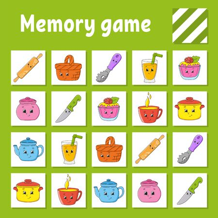 Memory game for kids. Education developing worksheet. Activity page with pictures. Puzzle game for children. Logical thinking training. Isolated vector illustration. Funny character. Cartoon style.  イラスト・ベクター素材