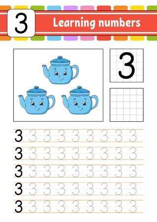 Number 3. Trace and write. Handwriting practice. Learning numbers for kids. Education developing worksheet. Activity page. Isolated vector illustration in cute cartoon style.