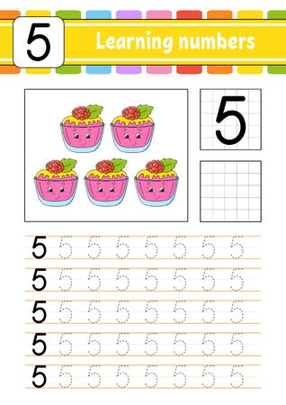 Number 5. Trace and write. Handwriting practice. Learning numbers for kids. Education developing worksheet. Activity page. Isolated vector illustration in cute cartoon style.