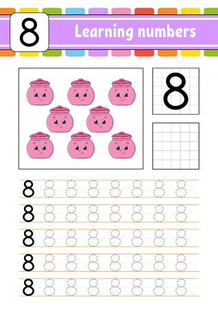 Number 8. Trace and write. Handwriting practice. Learning numbers for kids. Education developing worksheet. Activity page. Isolated vector illustration in cute cartoon style. Ilustração