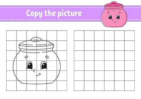 Copy the picture. Sugar bowl. Coloring book pages for kids. Education developing worksheet. Game for children. Handwriting practice. Catoon character.