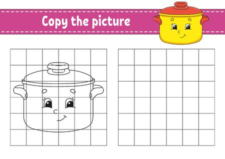 Copy the picture. Stewpan. Coloring book pages for kids. Education developing worksheet. Game for children. Handwriting practice. Catoon character.