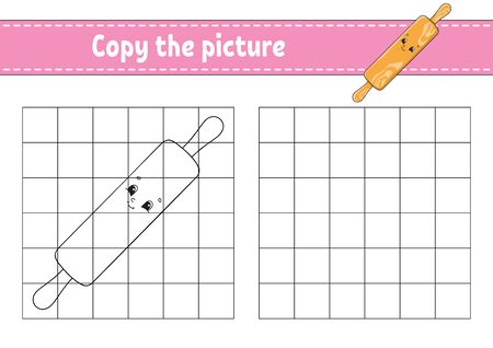 Copy the picture. Rolling pin. Coloring book pages for kids. Education developing worksheet. Game for children. Handwriting practice. Catoon character. Ilustração