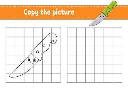Copy the picture. Knife. Coloring book pages for kids. Education developing worksheet. Game for children. Handwriting practice. Catoon character.