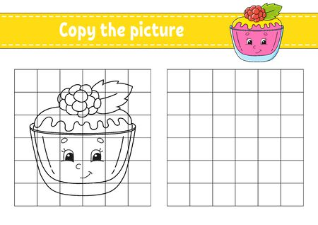 Copy the picture. Sweet cake. Coloring book pages for kids. Education developing worksheet. Game for children. Handwriting practice. Catoon character.