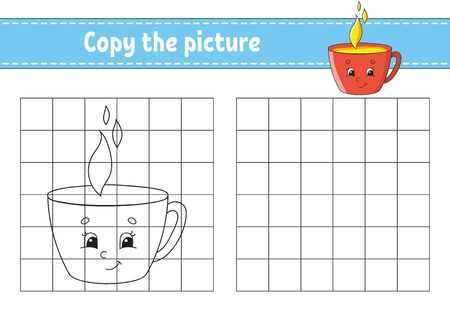 Copy the picture. Cup. Coloring book pages for kids. Education developing worksheet. Game for children. Handwriting practice. Catoon character. Ilustração
