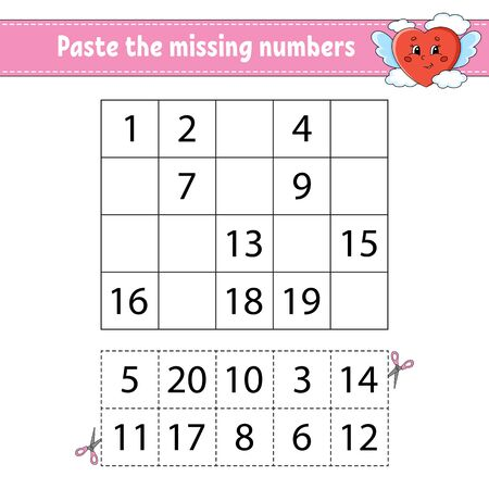 Paste the missing numbers 1-20. Game for children. Handwriting practice. Learning numbers for kids. Education developing worksheet. Activity page. Isolated vector illustration in cute cartoon style.