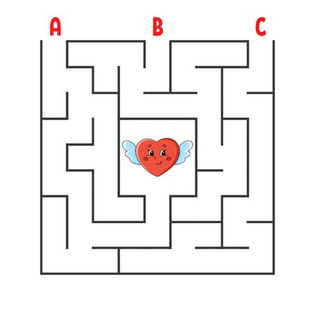 Square maze. Game for kids. Puzzle for children. Cartoon character heart. Labyrinth conundrum. Color vector illustration. Find the right path. The development of logical and spatial thinking.