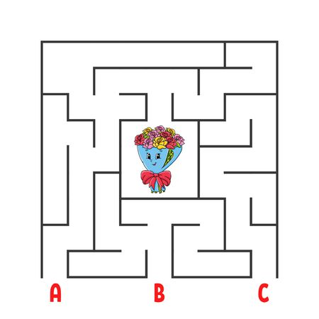 Square maze. Game for kids. Puzzle for children. Cartoon character bouquet. Labyrinth conundrum. Color vector illustration. Find the right path. The development of logical and spatial thinking.